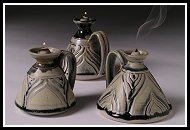 stoneware coal oil candles